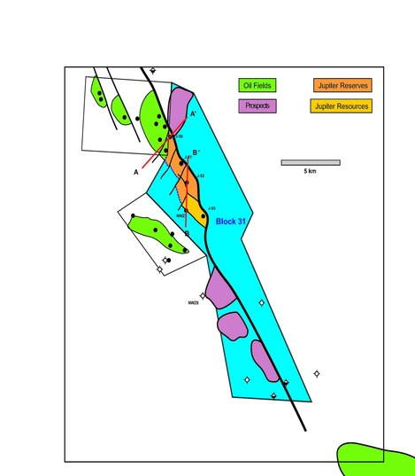 --- Fig 5 – Mid Triassic Northeast Akkar Oil Field with line of section